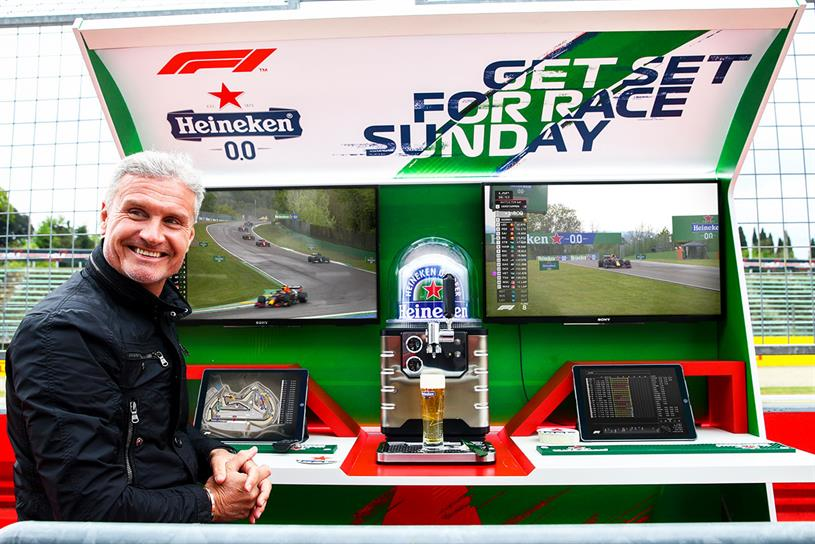 Heineken: British former racing driver David Coulthard tested out the bar