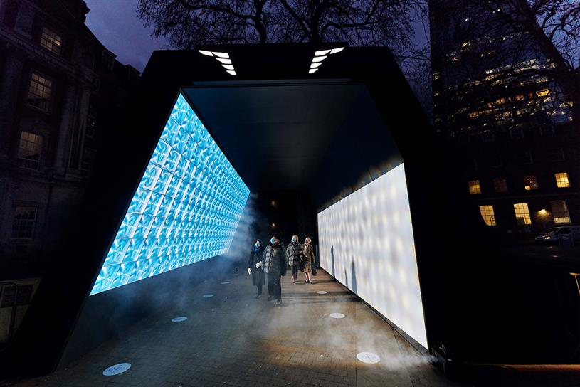 Hyundai: light tunnel to be used by NHS staff and patients