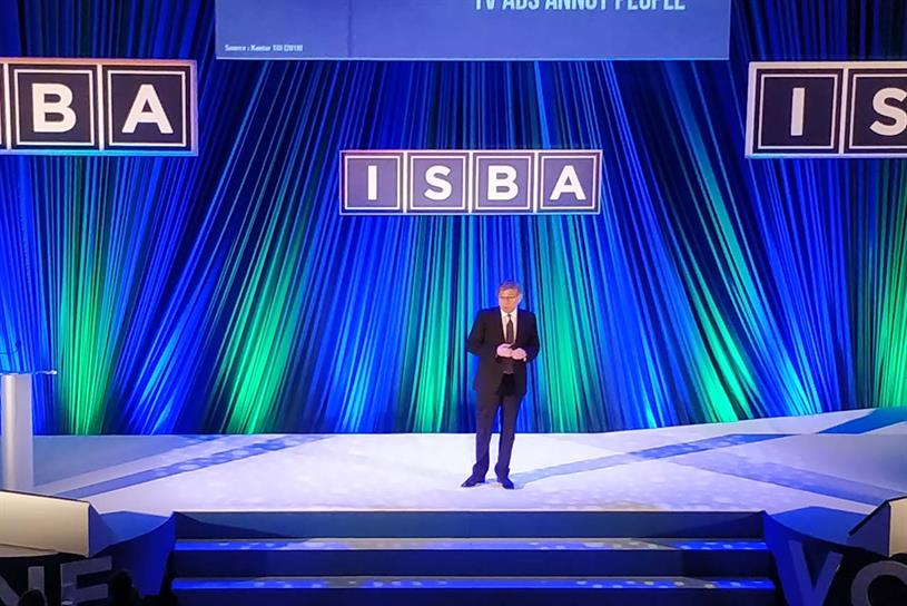 AA president Keith Weed on stage at the ISBA conference at the Troxy in East London