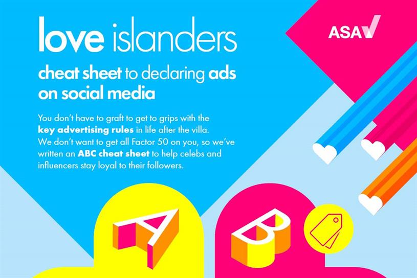 Love Island contestants: advertising guidelines