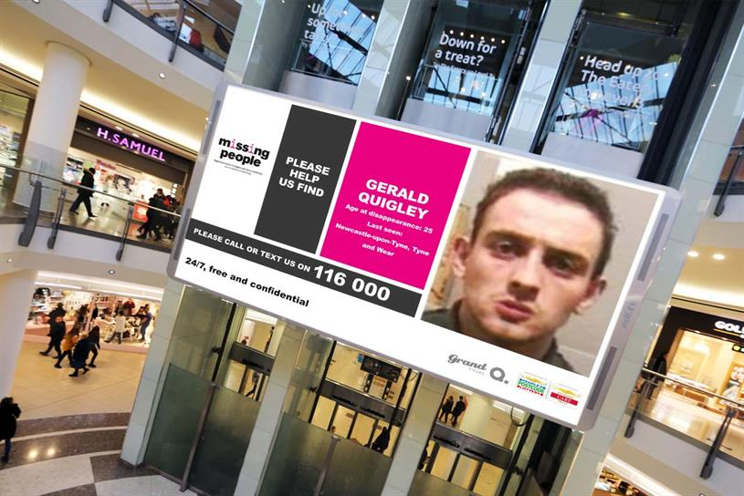 Missing People: campaign will run in all major UK cities