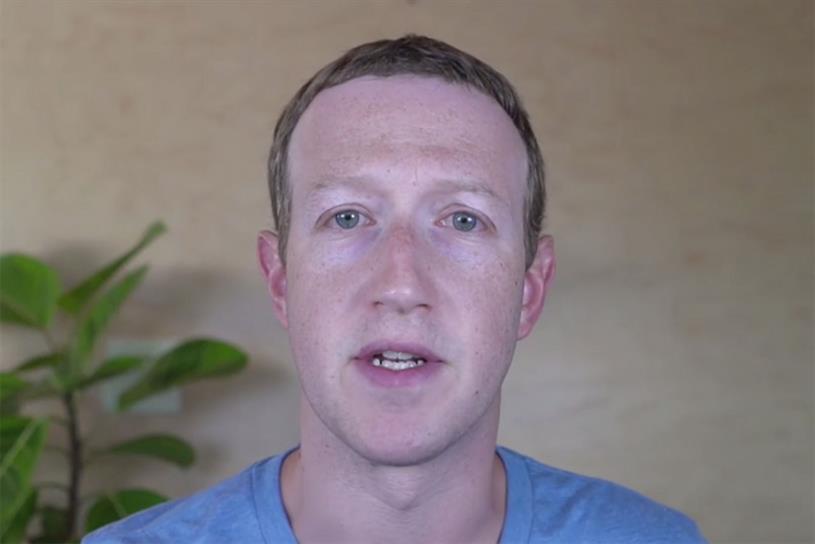 Zuckerberg: did not directly address ad boycott in video