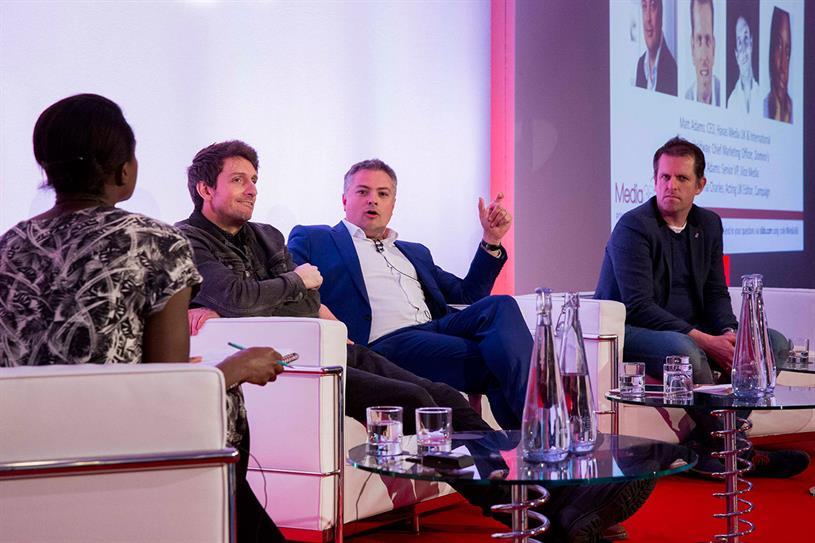 Media360 panel (l-r): Charles; Mark Adams, senior VP, Vice Media; Matt Adams; Holdway.