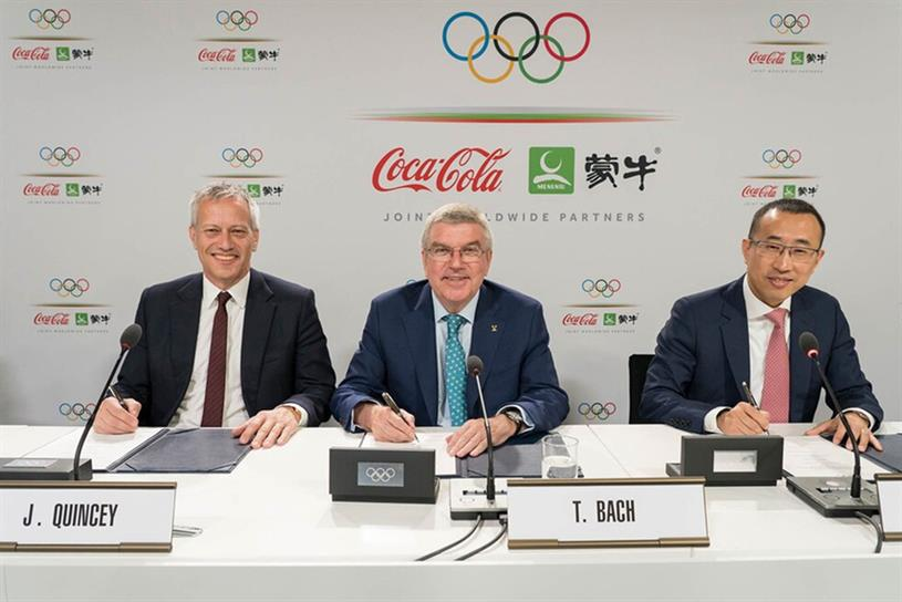 Olympics partnership: Coke president and CEO James Quincey, IOC president Thomas Bach and Lu