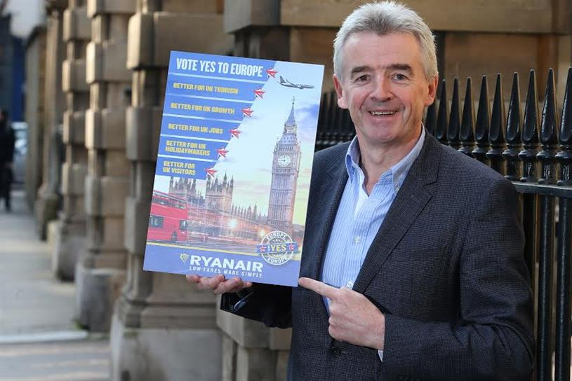 Ryanair chief executive Michael O'Leary with a mock-up of tomorrow's newspaper ad