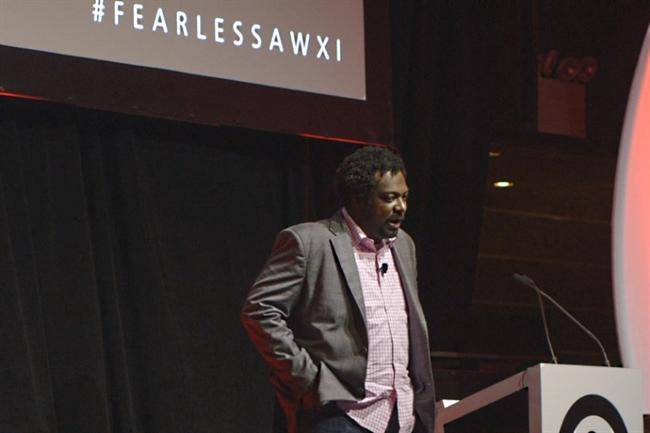 Bonin Bough: tells the audience at Advertising Week to be 'fearless' (picture credit: Sovev Media)