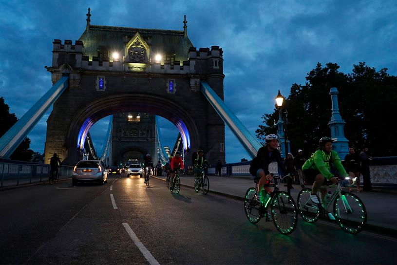 Ovo Energy: riders on Tower Bridge