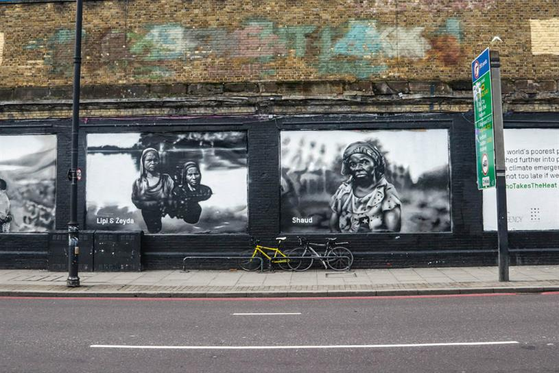 Oxfam: mural shows different people affected by climate change