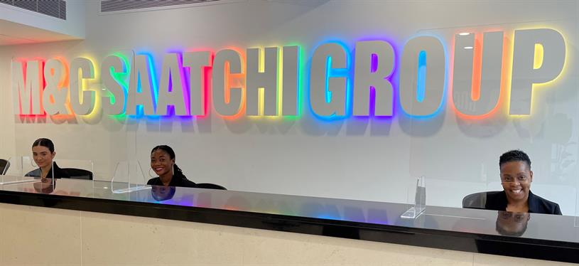 M&C Saatchi: logo has been lit with rainbow colours for Pride month at 36 Golden Square