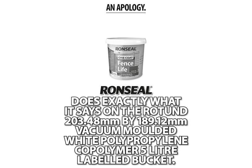 Ronseal: apologises for strapline