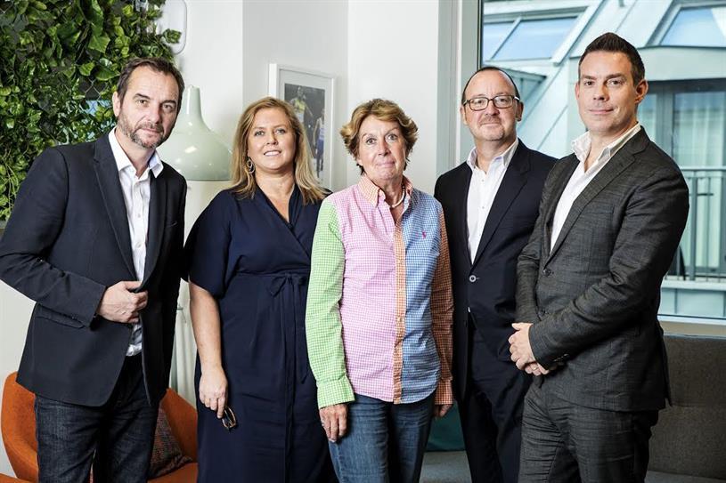 (L-R) Adrian Pettett, CEO of Havas Sports & Entertainment Cake; Louise Gaynor, COO of Target MCG; Sue Wickerson, CFO of Target MCG; Wilkerson; Frampton