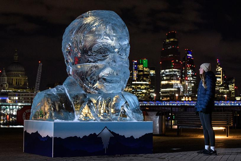 Tenzing: ice sculpture of Sir David Attenborough