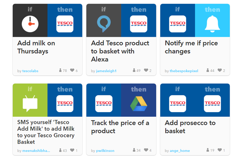Tesco partnered with automation platform IFTTT to allow shoppers to create a wide range of custom processes