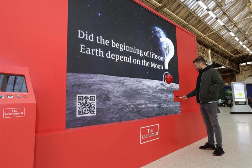 The Economist has launched an interactive ad unit at London's Victoria station