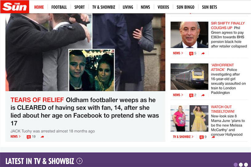 The Sun: dropped its online paywall in November 2015