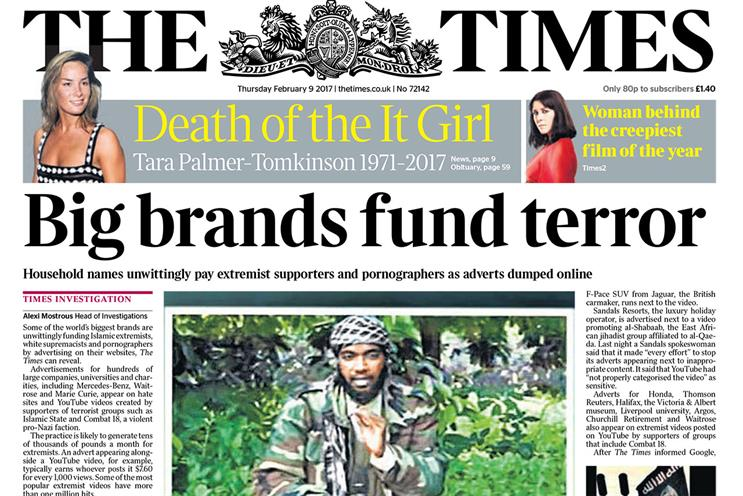 The Times: investigation found ads for major brands running alongside extremist content and porn