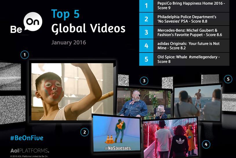 Top 5 global brand videos Jan 2016: Pepsi, Philadelphia Police, Mercedes, adidas and Old Spice
