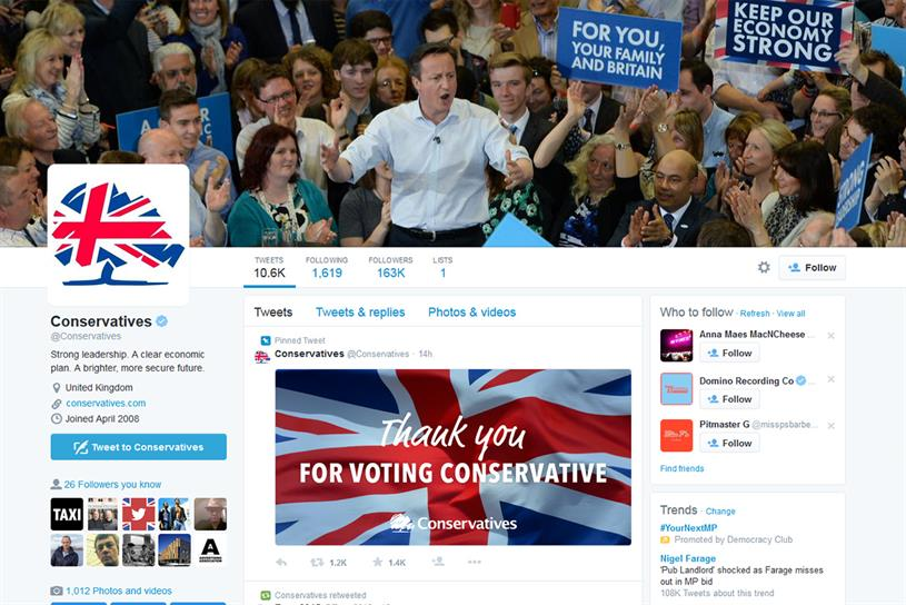 The Conservatives: thanks voters on the party's Twitter page
