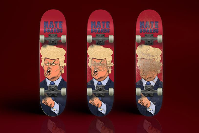 Hateboards: the closet thing to his real face you can smash up with metal