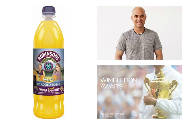 Wimbledon ads: Robinsons and Andre Agassi for Jacob's Creek and The All England Club