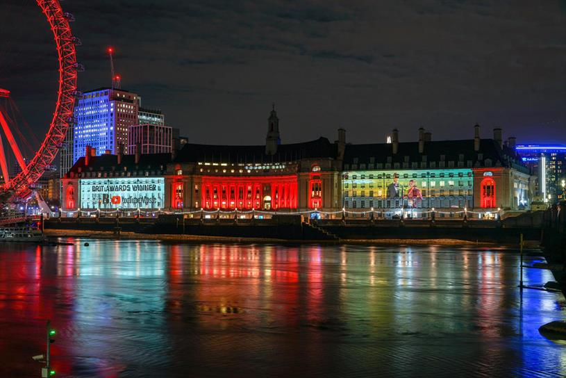 The winners were projected on to landmarks including County Hall