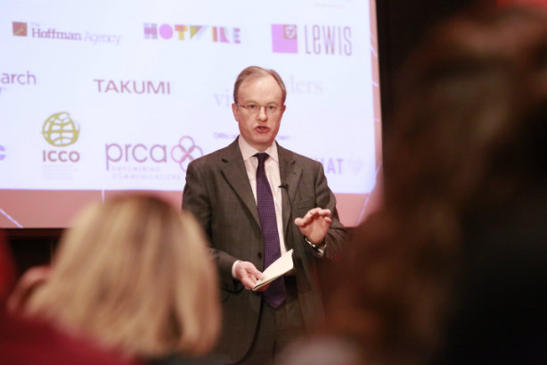 Aiken speaking at a PRWeek conference earlier this year