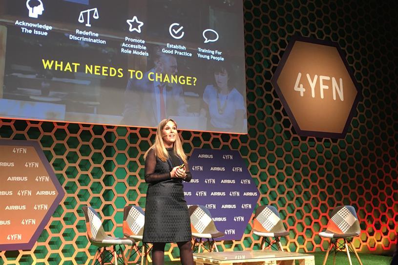 Aline Santos speaking at Mobile World Congress 2018