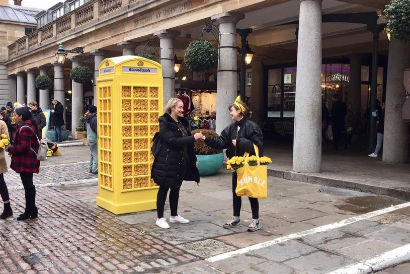 Bumble turns phone box yellow for Valentine's Day | Campaign US