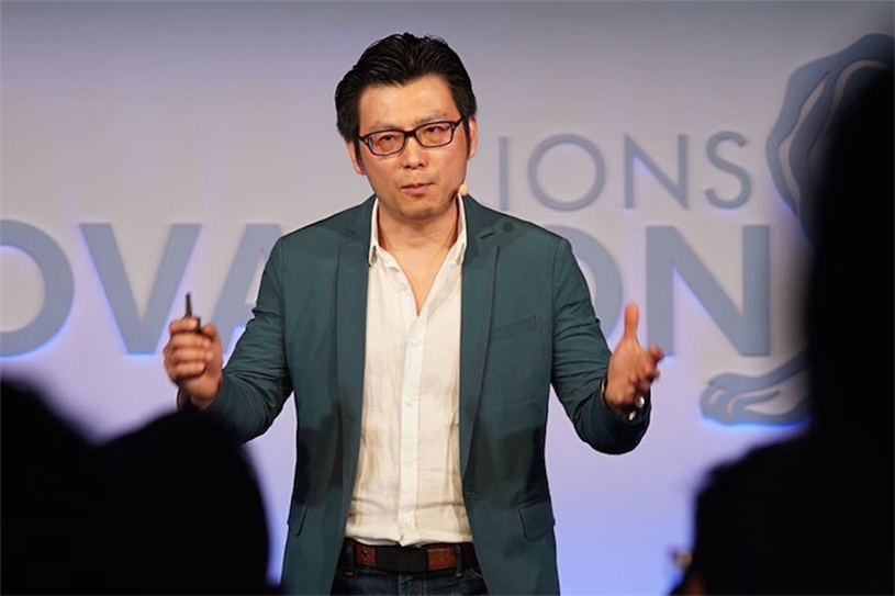 Chris Tung, chief marketing officer of Alibaba Group, speaks at Cannes Lions
