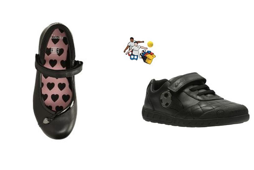 "Clarks ""Dolly Babe"" for girls on left, versus ""Leader"" for boys"
