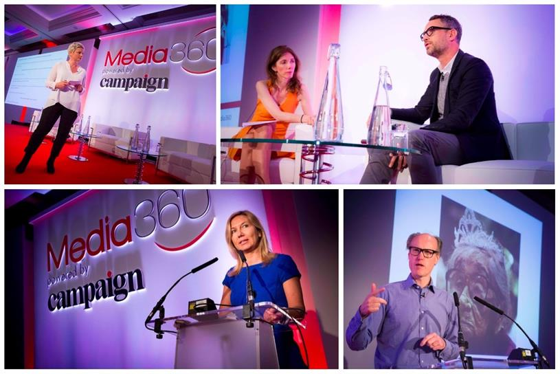Media 360: Michele Oliver (top left), Claire Beale and David Pemsel (top right), Philippa Brown (bottom right) Will Gompertz (bottom right)