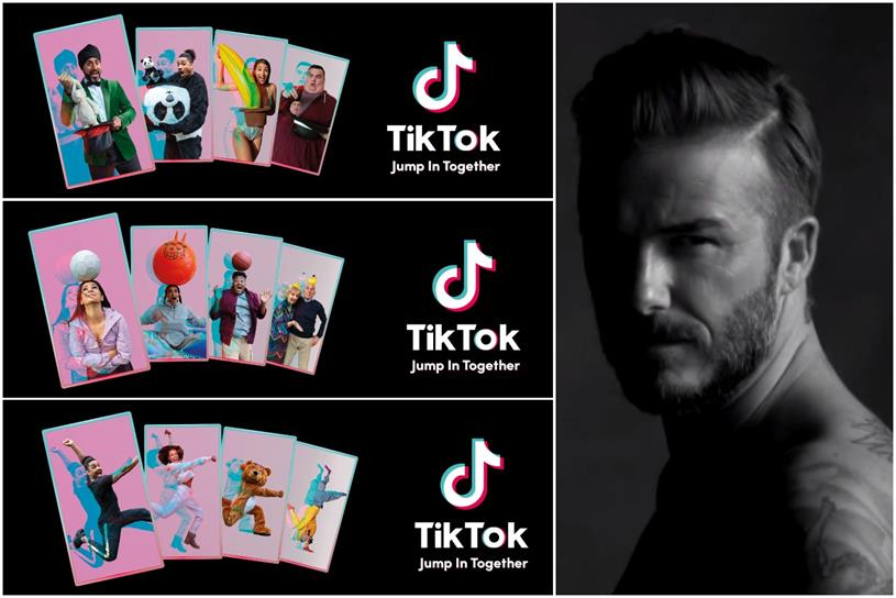 TikTok: Beckham (right) will unveil activity after launch of out-of-home (left) and TV work