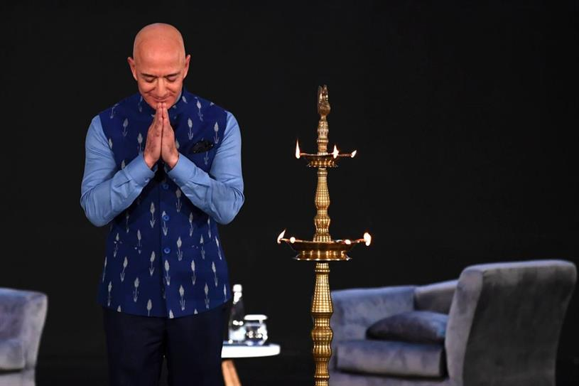 Amazon CEO Jeff Bezos at the company's annual Smbhav event in New Delhi on 15 Jan (Getty Images)