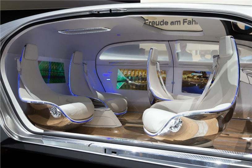 The interior of a self-driving Mercedes-Benz concept car (Picture: Shutterstock)