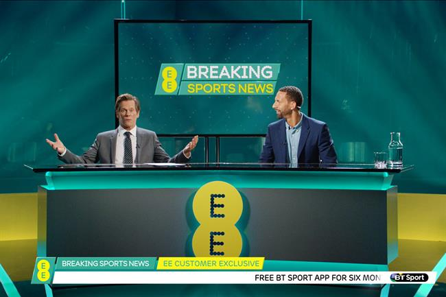 EE: Kevin Bacon and Rio Ferdinand starred in the brand's first dual brand campaign with BT