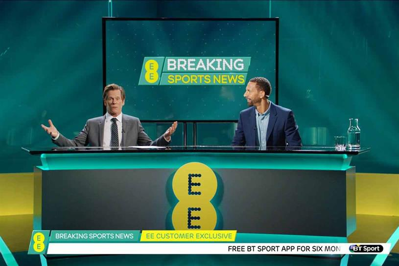 EE: launched its first joint brand campaign last year starring Kevin Bacon and Rio Ferdinand