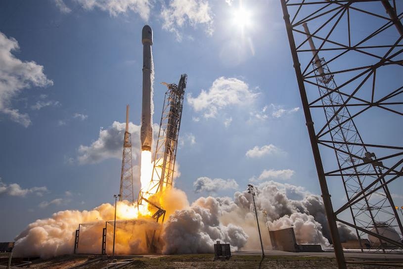 A SpaceX rocket lifting off