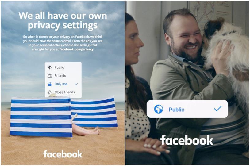 Facebook: press ad, left, and still from film
