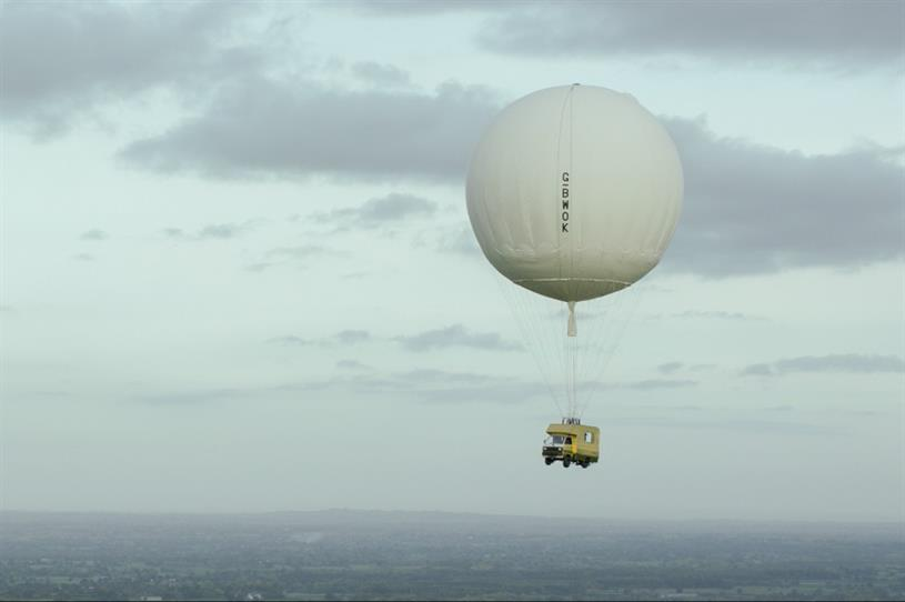 The camper van was flown 2,000 feet in the air