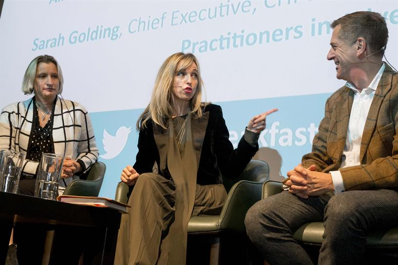 (from left to right) IBM's Alison Davis, IPA and CHI's Sarah Golding and Fjord's Mark Curtis