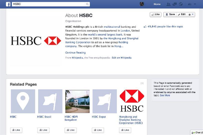 HSBC's social media profile