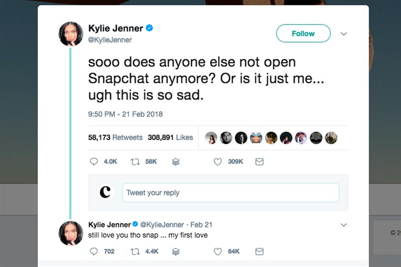 Snap's shares plummet after Kylie Jenner tweet | Campaign US
