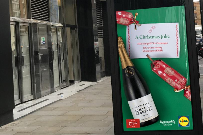 Lidl: poster ad appeared outside M&S store