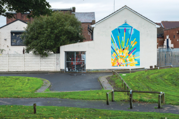 Liverpool-based street artist BetaRok75 is creating a mural in the inner-city area of Toxteth