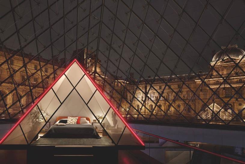 Louvre: winner got to spend a night in a mini-pyramid