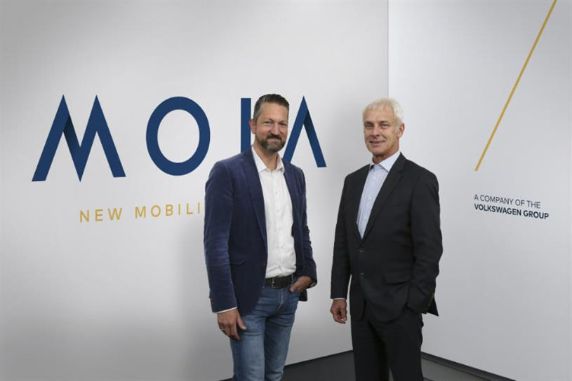 Moia: chief executive Ole Harms and VW boss Matthias Muller