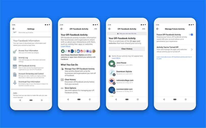 Off-Facebook Activity enables users to track what data is shared with third parties