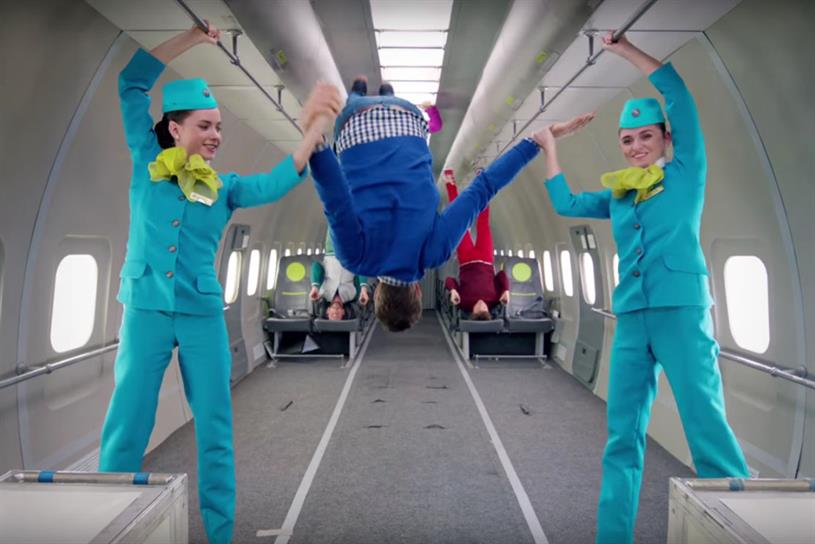 S7 Airlines and OK Go's video depicted the band as floating in 'zero gravity'
