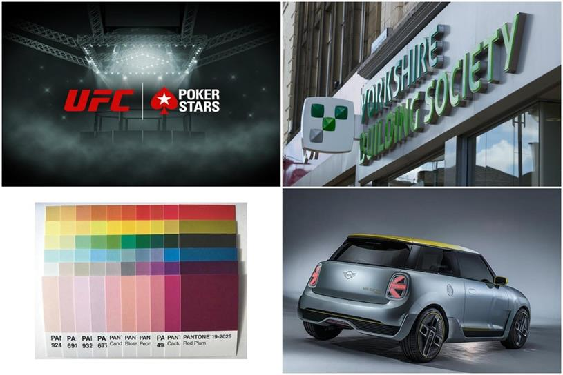 Clockwise from top left: PokerStars, Yorkshire Building Society, Mini and Pantone