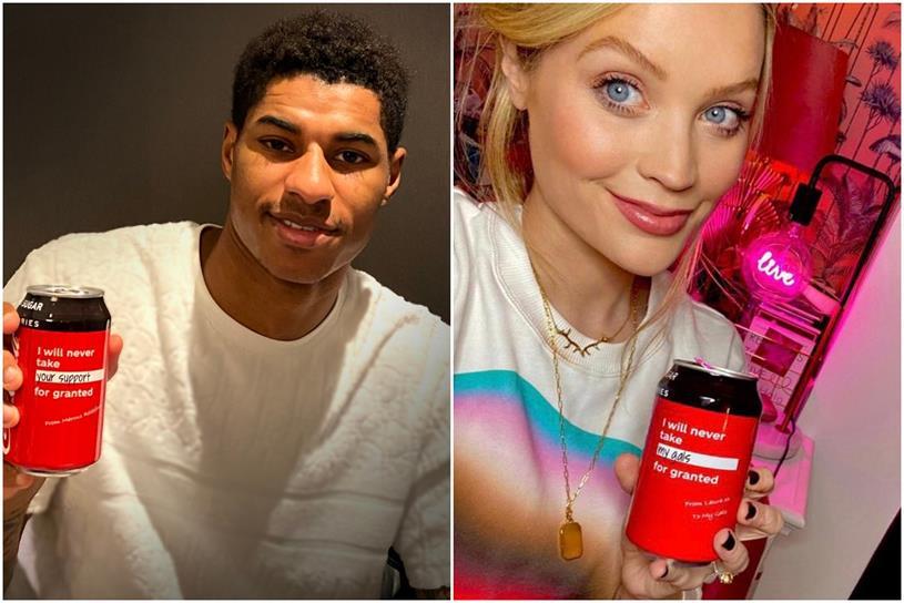 Coca-Cola: Marcus Rashford and Laura Whitmore appear in PR campaign